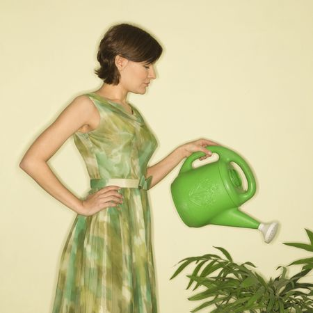 watering can: Pretty Caucasian mid-adult woman wearing vintage dress watering houseplant with green watering can.