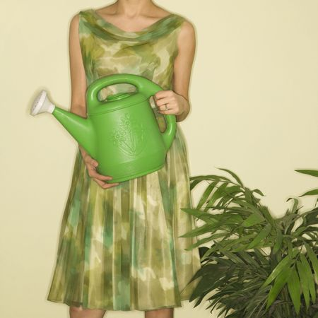 houseplant: Pretty Caucasian mid-adult woman wearing vintage dress standing next to houseplant holding green watering can. Stock Photo