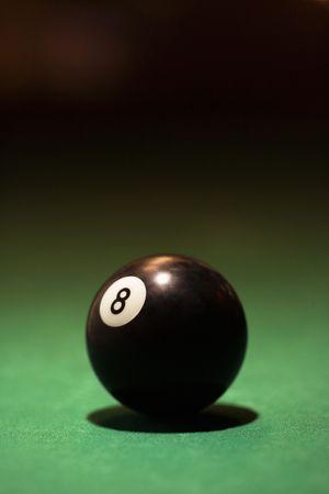 eight ball: Eight ball on green billiards table.