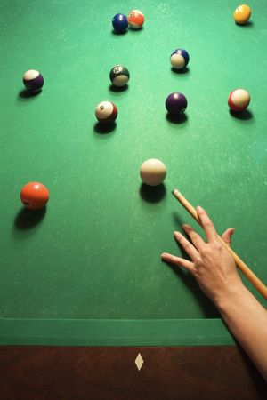pool ball: Womans hand preparing to hit pool ball while playing billiards.