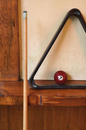 pool ball: rack and pool ball for billiards.