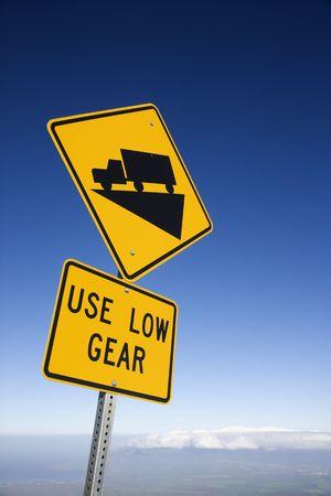 steep: Steep grade truck road sign in Haleakala National Park, Maui, Hawaii.