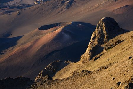 dormant: Aerial of dormant volcano with crater in Haleakala National Park, Maui, Hawaii.