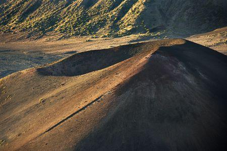dormant: Aerial of dormant volcano in Haleakala National Park, Maui, Hawaii.