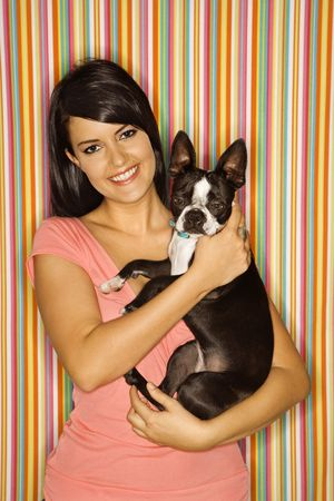 snuggle: Young adult female Caucasian holding Boston Terrier dog on striped background. Stock Photo