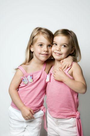 fraternal: Female children Caucasian twins.