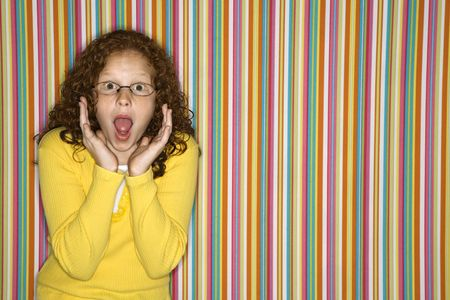 Caucasian female child looking surprised. Stock Photo - 2479096
