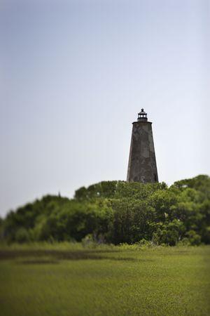 bald head island: Bald Head Island lighthouse on Bald Head Island, North Carolina. Stock Photo