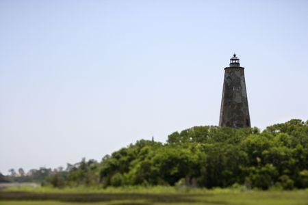 bald head island: Lighthouse on Bald Head Island, North Carolina.