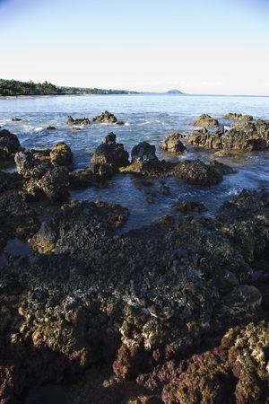 lave: Lave rocky coast in Maui, Hawaii. Stock Photo