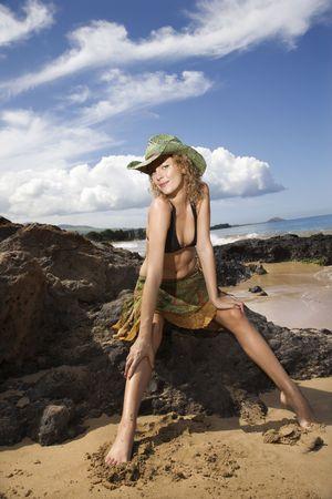 Portrait of young adult female Caucasian. photo