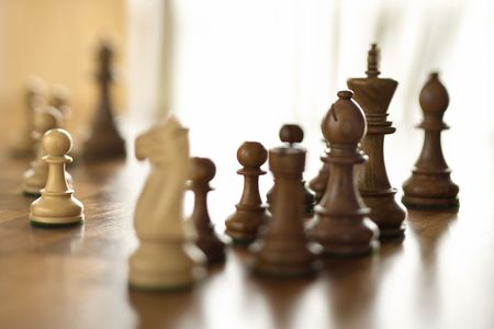 Chess pieces on chess board. photo