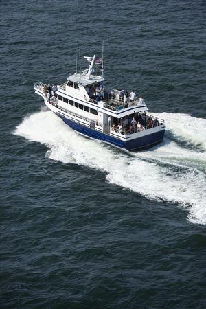 bald head island: Ferry boat transport on Bald Head Island, North Carolina.