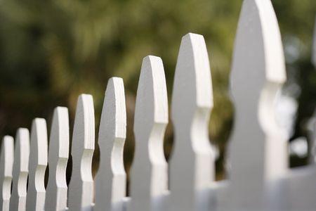 picket fence: White picket fence. Stock Photo