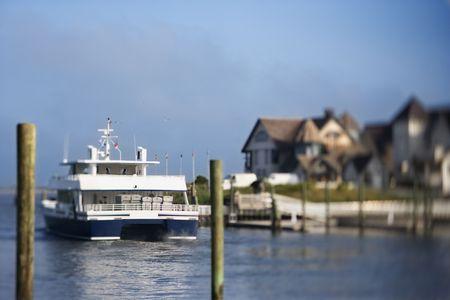 bald head island: Ferry boat heading into channel on Bald Head Island, North Carolina.
