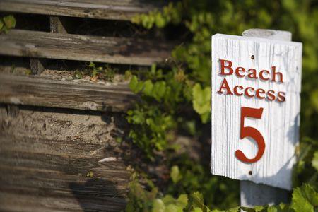 bald head island: Beach access sign on Bald Head Island, North Carolina.