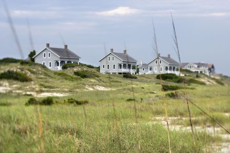 bald head: Scenic houses at coast of Bald Head Island, North Carolina.