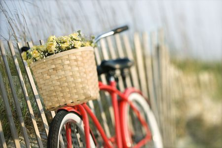 Red vintage bicycle with basket and flowers leaning against wooden fence at beach. photo