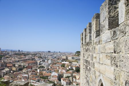 crenelation: Aerial view of town from castle structure in Lisbon, Portugal. Stock Photo