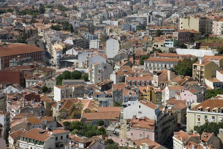 aerial photograph: Aerial view of buildings in Lisbon, Portugal.