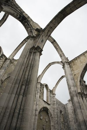 church ruins: Open roof of the Carmo church ruins in Lisbon, Portugal. Stock Photo