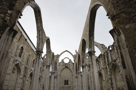 Open roof of the Carmo church ruins in Lisbon, Portugal. photo