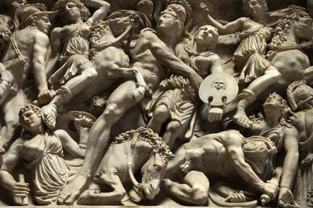 rome italy: Relief sculpture of battle scene in the Vatican Museum, Rome, Italy. Stock Photo