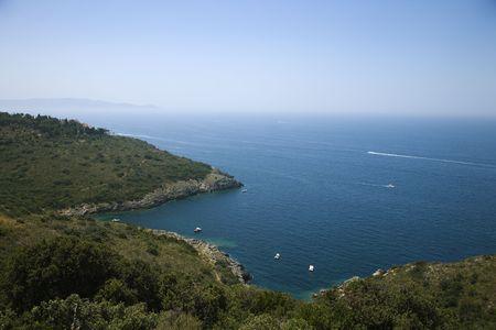 overlook: Overlook of Italian coastline.