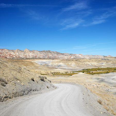 Gravel road in desert land of Cottonwood Canyon, Utah. photo