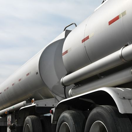 18 wheeler: Detail of fuel truck with big storage tanks. Stock Photo