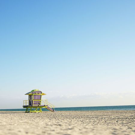 observations: Art deco lifeguard tower on deserted beach in Miami, Florida, USA. Stock Photo