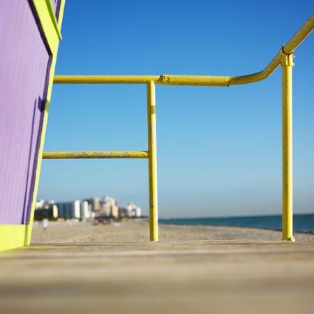 Art deco lifeguard tower deck on beach in Miami, Florida, USA. photo