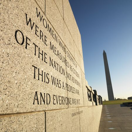 district of columbia: World War II Memorial with Washington Monument in background, Washington, DC, USA. Editorial