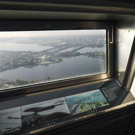 window view: View from inside Washington Monument in Washington, DC, USA. Stock Photo