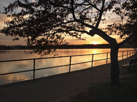 district of columbia: Sunset over water in Washington, DC, USA. Stock Photo