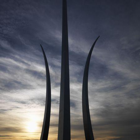 spires: Three spires of Air Force Memorial in Arlington, Virginia, USA.
