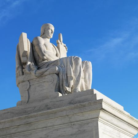 supreme court: Supreme Court Building sculpture, Washington, DC, USA. Stock Photo