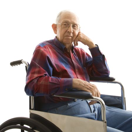 Portrait of Caucasion elderly man sitting in wheelchair. Stock Photo - 2388998