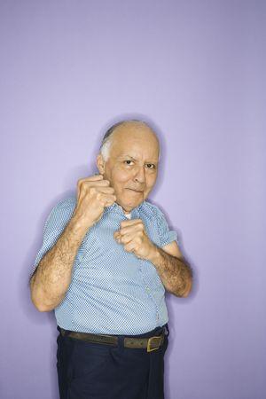 Caucasian mature adult male making fists. Stock Photo - 2376384