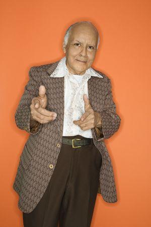 receding: Caucasian adult mature male in retro suit. Stock Photo