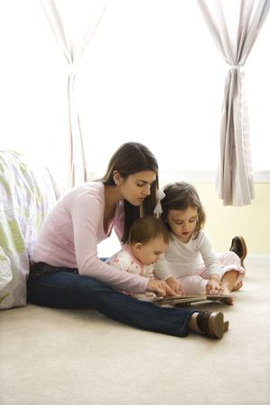 Caucasian girl children with mother sitting on bedroom floor looking at book. photo