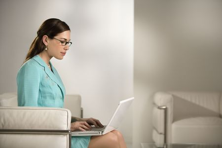 Caucasian mid adult professional business woman sitting in modern office working on laptop computer. Stock Photo - 2555041