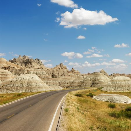 badlands: Scenic roadway in Badlands National Park, North Dakota.
