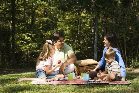 Hispanic family picnic in the park.