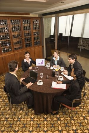 High angle of diverse group of businesspeople in meeting. Stock Photo - 2616115