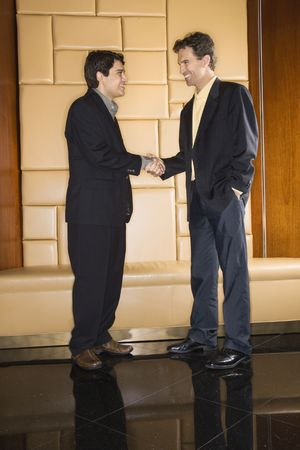 Two businessmen standing and shaking hands. Stock Photo - 2622898