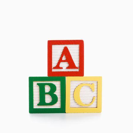 letter c: ABC Alphabet blocks stacked together.  Stock Photo