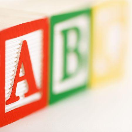 studio b: ABC alphabet blocks lined up. Stock Photo