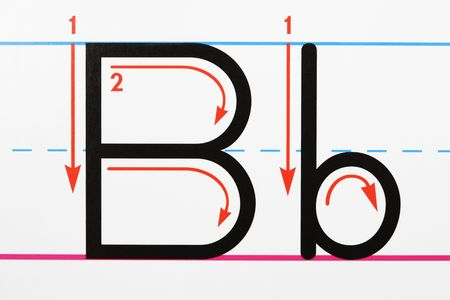 studio b: Close up of letter B handwriting practice page.