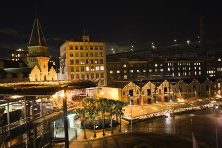 port jackson: Street scene at night in Sydney, Australia. Stock Photo